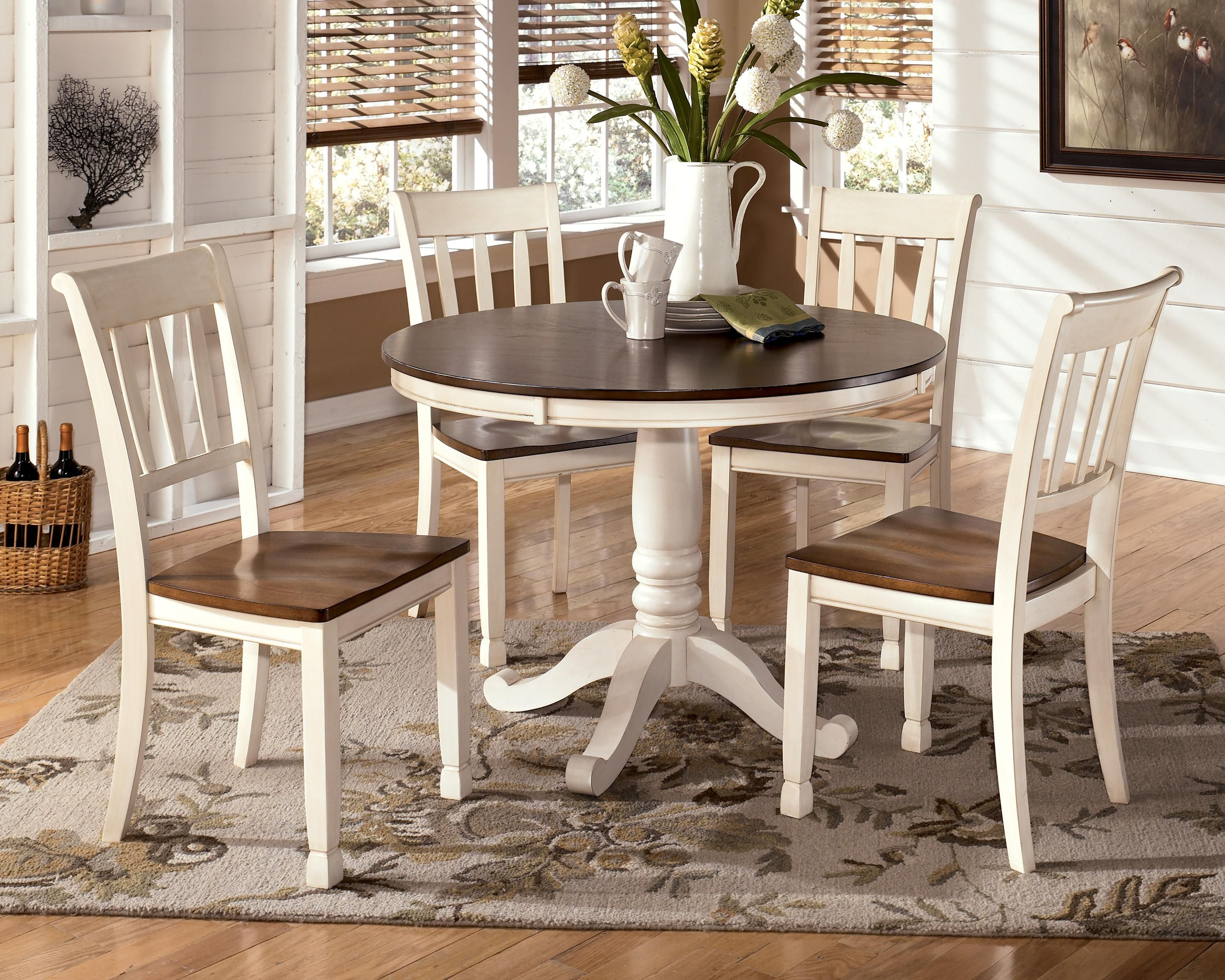 Whitesburg 5 Piece Two Tone Cottage Round Table Set By Ashley Furniture Signature Design At Del Sol Furniture Round Dining Table Sets Round Dining Room Round Dining Room Sets