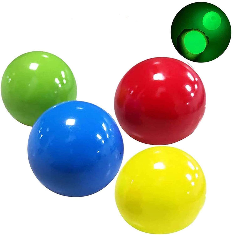 Vanreyin 4pcs Ceiling Sticky Balls Decompress Stress Relief Balls Luminescent Squeeze Vent Ball Fluo Best Kids Toys Wall Balls Stress Relief Ball