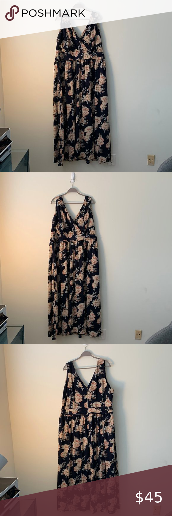 Navy And Pink Floral Maxi Dress Maxi Length Ruched Bodice Dress Size 4x Runs A Little Small Great For Wed In 2020 Pink Floral Maxi Dress Mod Cloth Dresses Maxi Dress [ 1740 x 580 Pixel ]