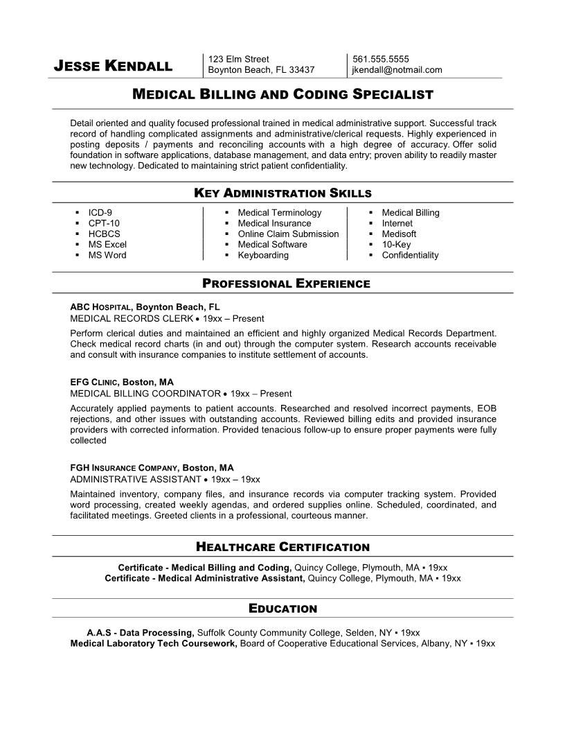 Resume Template Examples Medical Coder Free Resume Samples Medical Coding Medical Billing