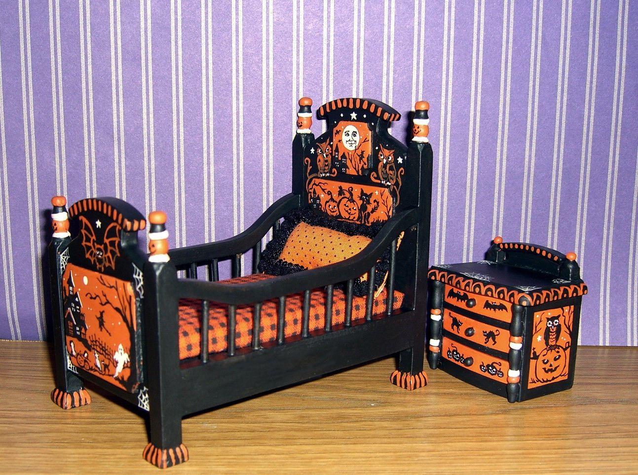 Dollhouse Miniature Painted Halloween Crib Bed Witch Pumpkin Cat L.Lassige 1:12 | eBay #haunteddollhouse