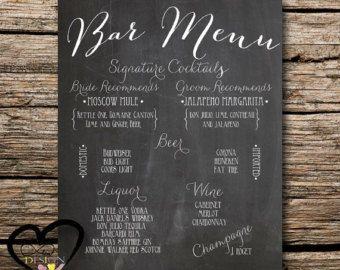 Chalkboard Bar Menu Personlaized Wedding Sign Cockatil List