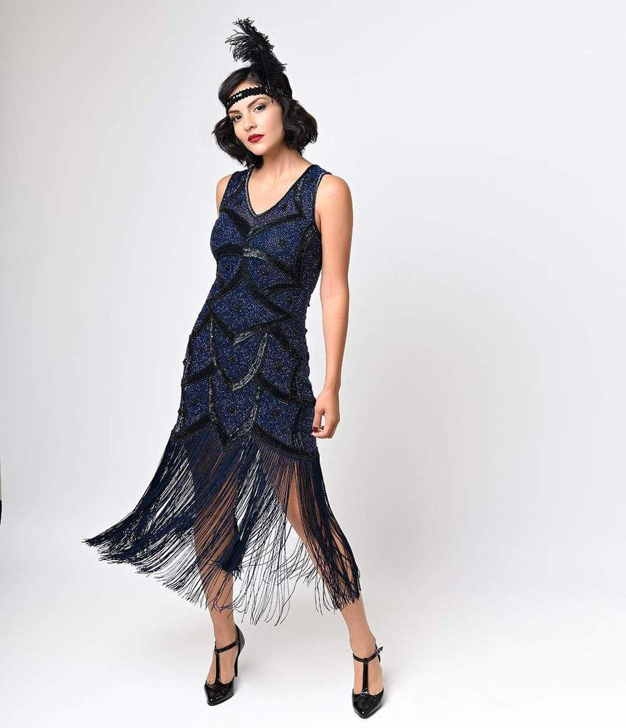 17623ef40f4 Unique Vintage Black   Blue Beaded Mesh Isadora Fringe Flapper Dress