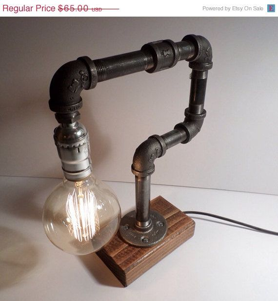 Edison Lamp Rustic Decor Unique Table Lamp Industrial: ON SALE Globe Style Edison Bulb Table Lamp In Oak