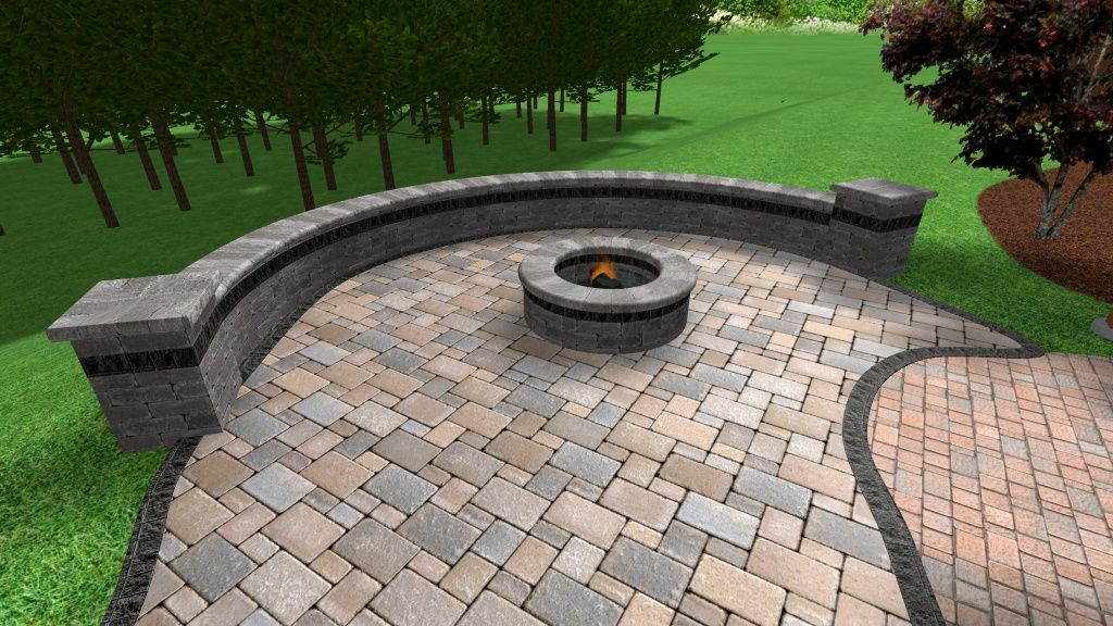 Tumbled Brick Paver Accent Walls Patio And Fire Pit