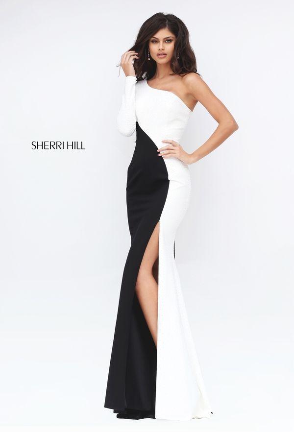 Ivory/Black Long Sherri Hill 50648 One Shoulder Slit Evening Dress 2017