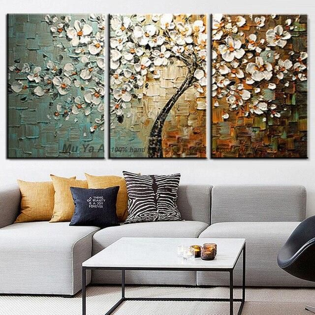 Photo of Landscape painting canvas decorative abstract tree picture flower oil painting for living room wall 3 piece canvas art heavy oil – 50x75cmx3 No frame / Yellow