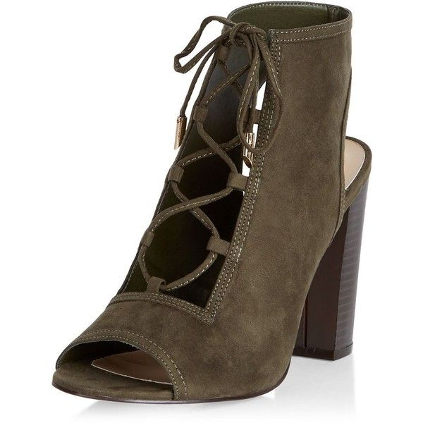 New Look Khaki Suedette Peep Toe Ghillie Block Heels (598.190 IDR) ❤ liked  on Polyvore featuring shoes, pumps, khaki, laced up shoes, laced shoes, ...