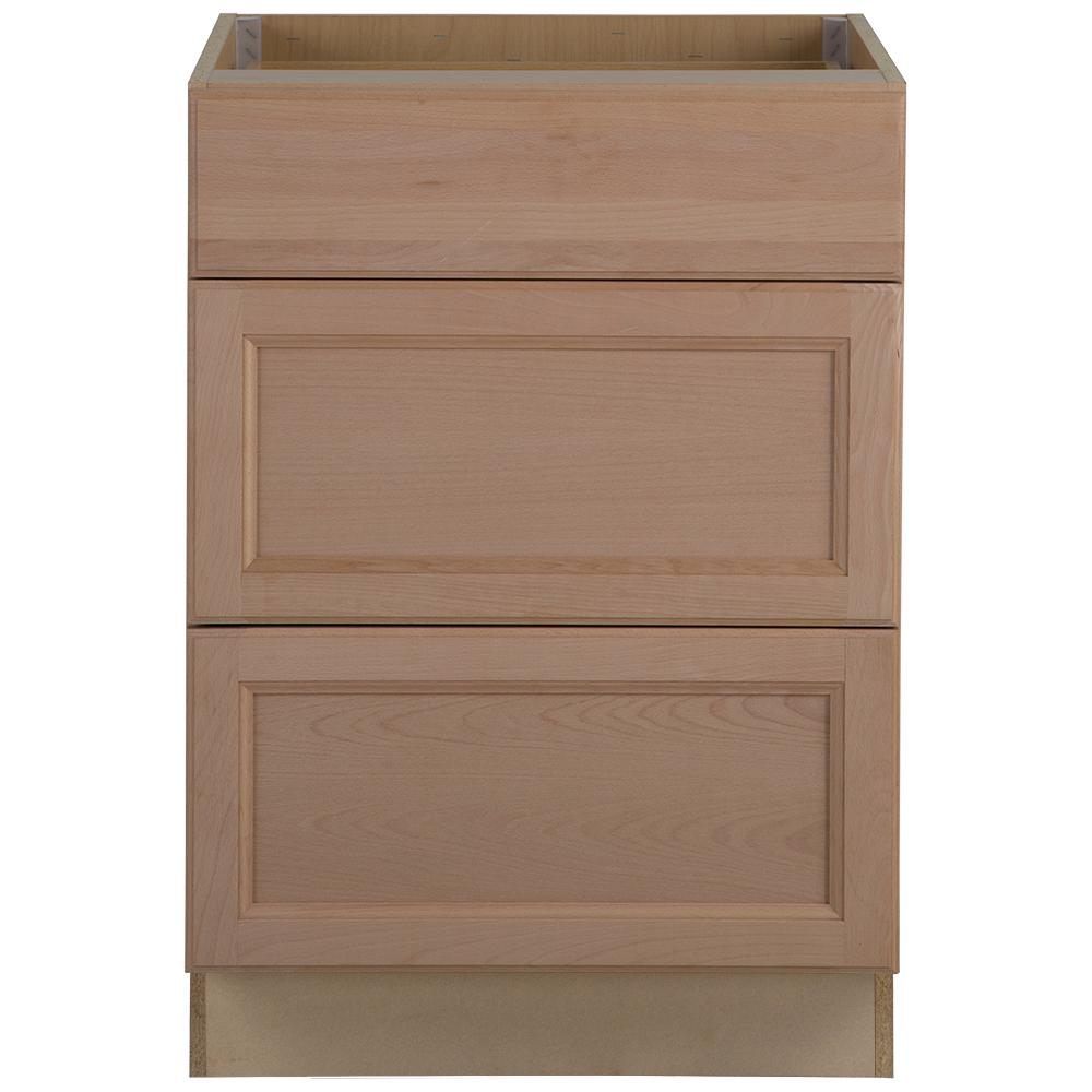 Hampton Bay Assembled 24x34 5x24 In Easthaven Base Cabinet With 3 Drawers In Unfinished German B Base Cabinets Unfinished Kitchen Cabinets Unfinished Cabinets