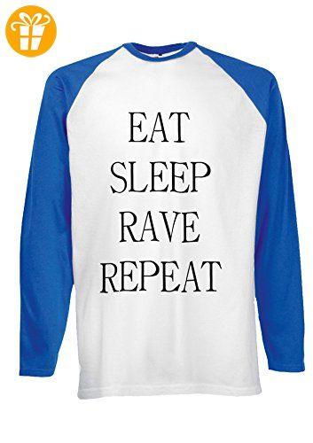 Eat Sleep Rave Repeat Party Novelty Royal Blue/White Men Women Damen Herren Langarm Unisex Baseball T Shirt Verschiedene Farben-XXL (*Partner-Link)