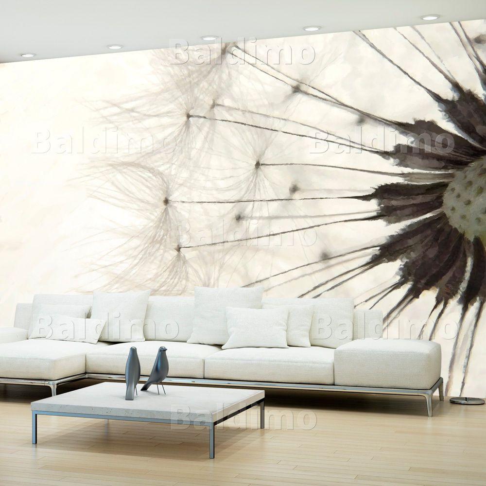 Fototapete pusteblume natur creme grau vlies tapeten for Wandbilder xxl schlafzimmer