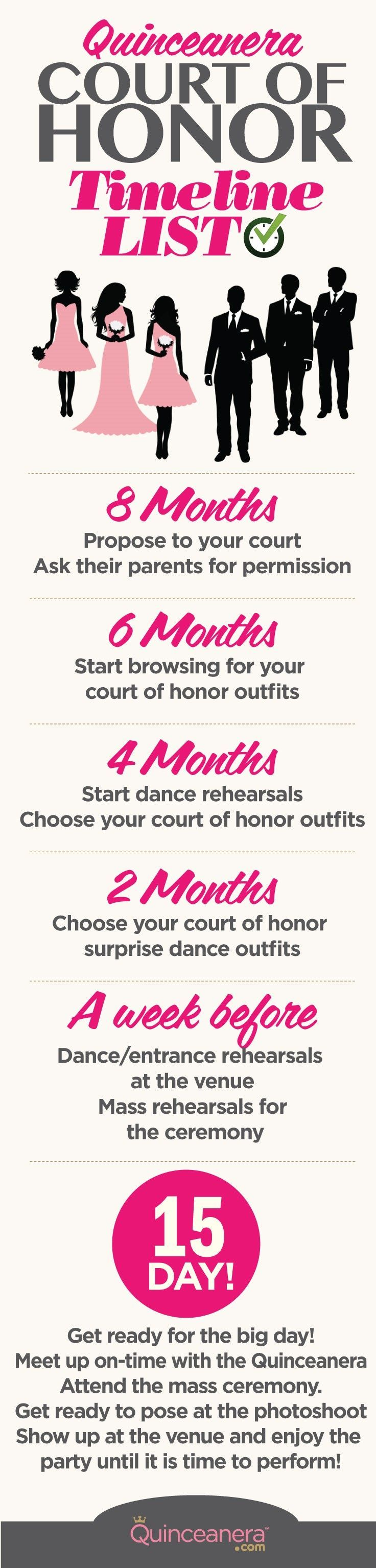 Quince Court of Honor Timeline of Events | Quinceanera Planning ...
