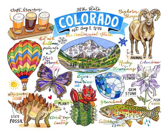 colorado print state symbols rocky mountains the by loupaper
