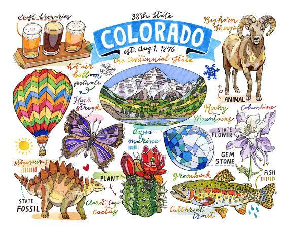 Colorado Print State Symbols Rocky Mountains The Centennial State