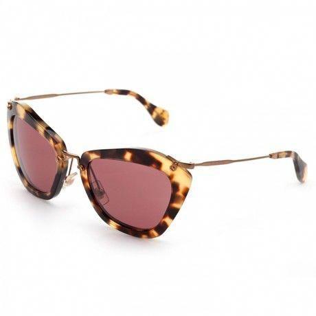 ade3da55516 MIU MIU Pink Havana Cat Eye Acetate Sunglasses- Lyst  MiuMiu