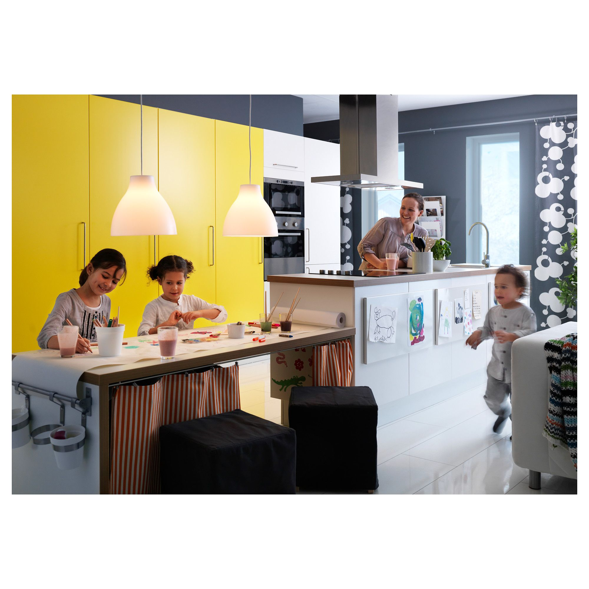 IKEA MELODI Pendant Lamp White 38 Cm Gives A Directed Light; Good For  Lighting Up For Example Dining Tables Or Bar Tops.