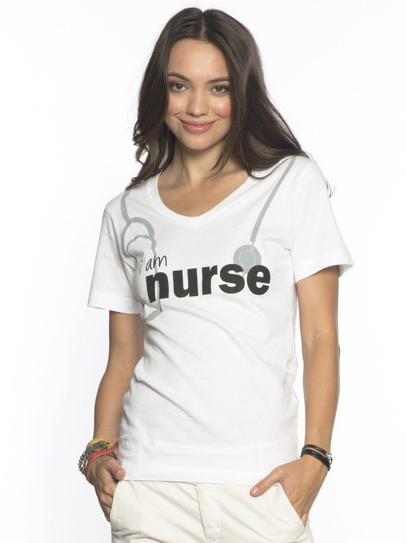 I Am Nurse White Fine Jersey Short Sleeve V Neck Tee