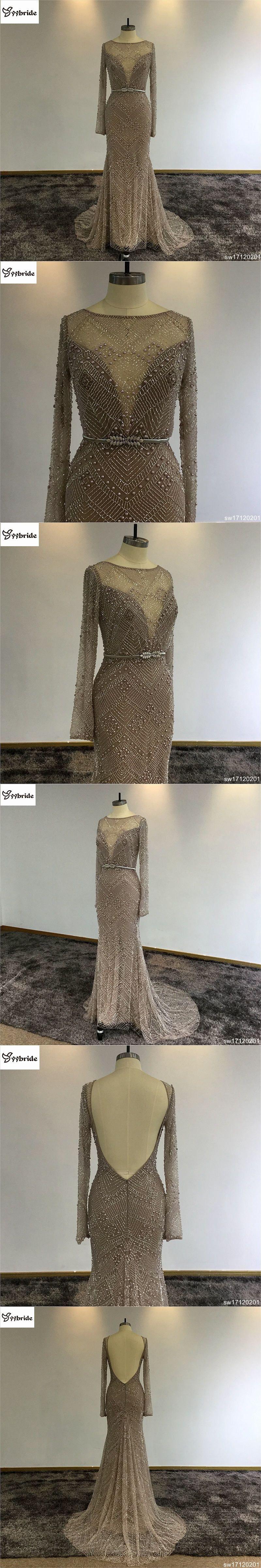 Elegant surmout customized long sleeves dress backless mermaid prom