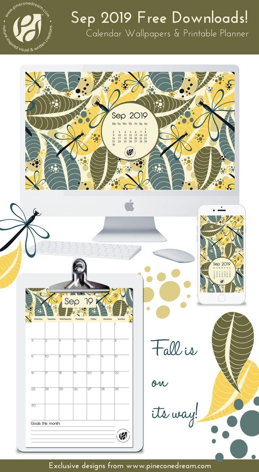 September 2019 free calendar wallpapers & printable