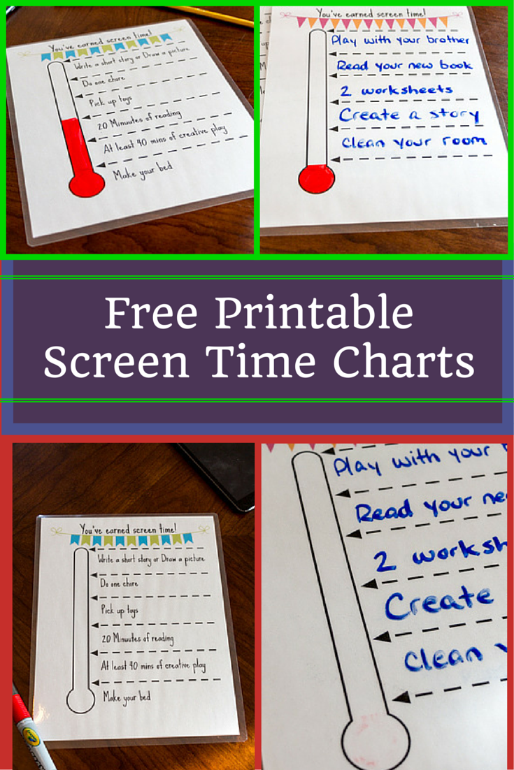 Free Printable Screen Time Charts That Allow Kids To Earn Screen Time By Completing Tasks And C S And Track Their Own Progress To Reach A Goal
