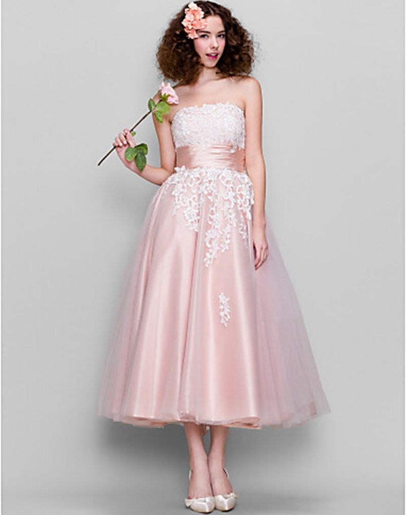 Pink tea length wedding dresses fashionable pink lace wedding