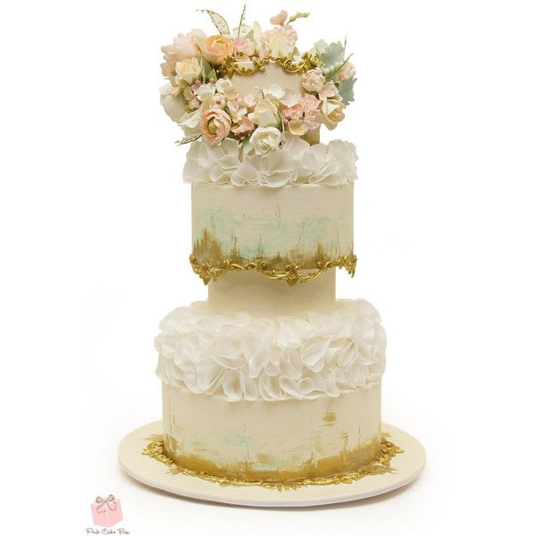 Floral Wedding Cakes ❤ liked on Polyvore featuring home and kitchen & dining