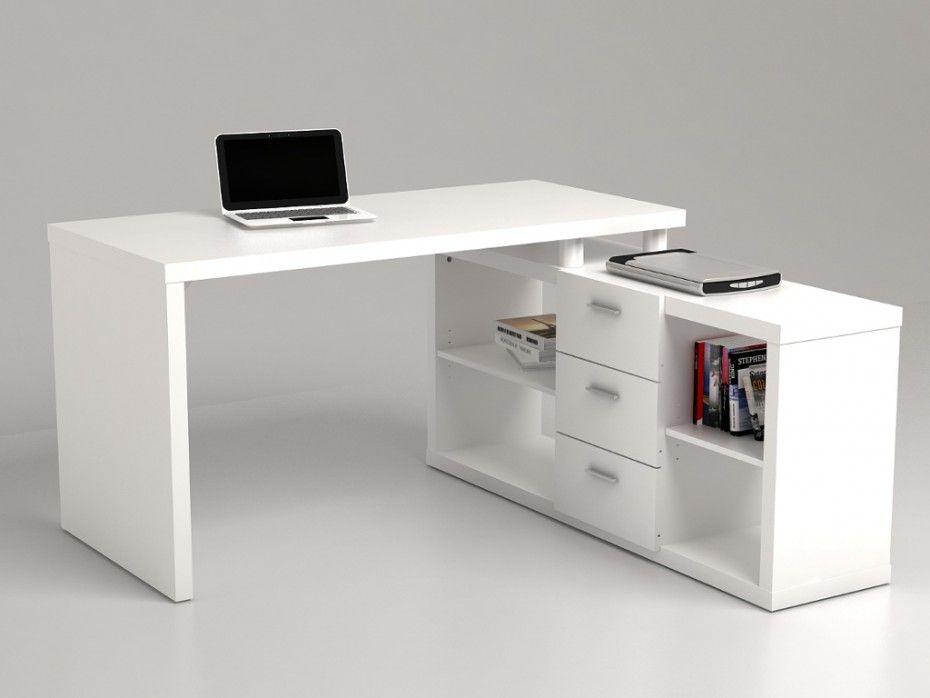 bureau d'angle avec rangements aldric ii - blanc | bureau
