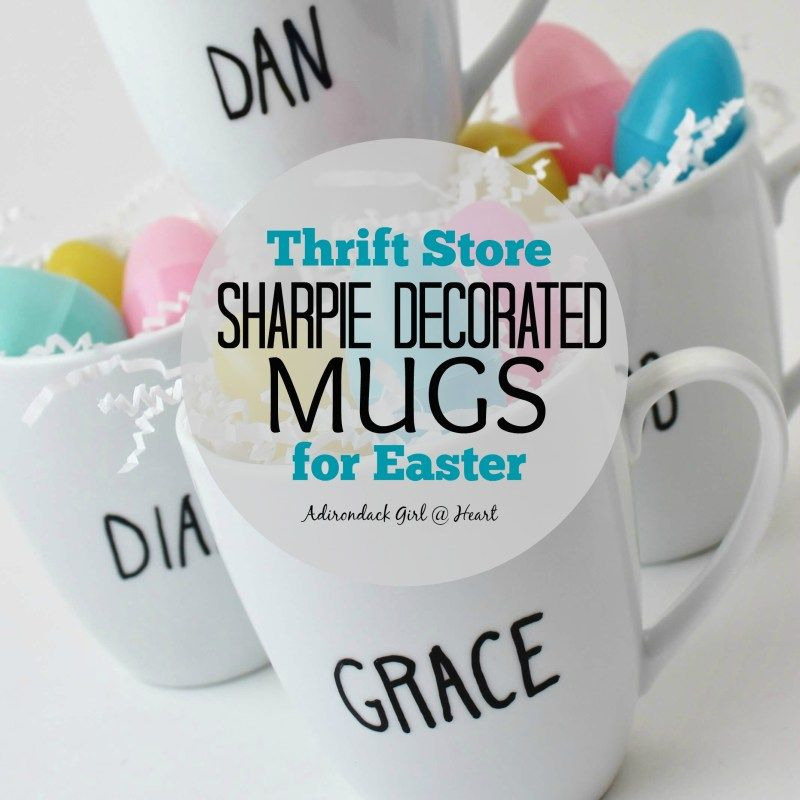Sharpie Decorated thrift store mugs