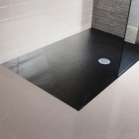 Simpsons 1400 X 900mm Black Slate Textured Effect Shower Tray