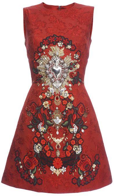 4fd6bb97 Dolce & Gabbana Sacred Heart Embellished Sleeveless Brocade Dress on  shopstyle.com