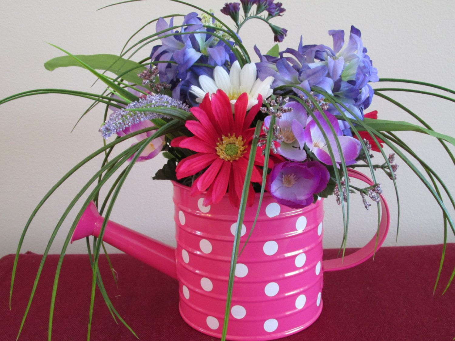 Summer flower arrangement watering can pink lilacs daisy items similar to summer flower arrangement watering can pink lilacs daisy gerbera tall grasse fillers spring flowers silk floral pokka dot izmirmasajfo Choice Image