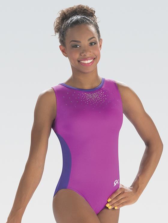 Purple Gymnastics Leotards with Charming Sequin Motif