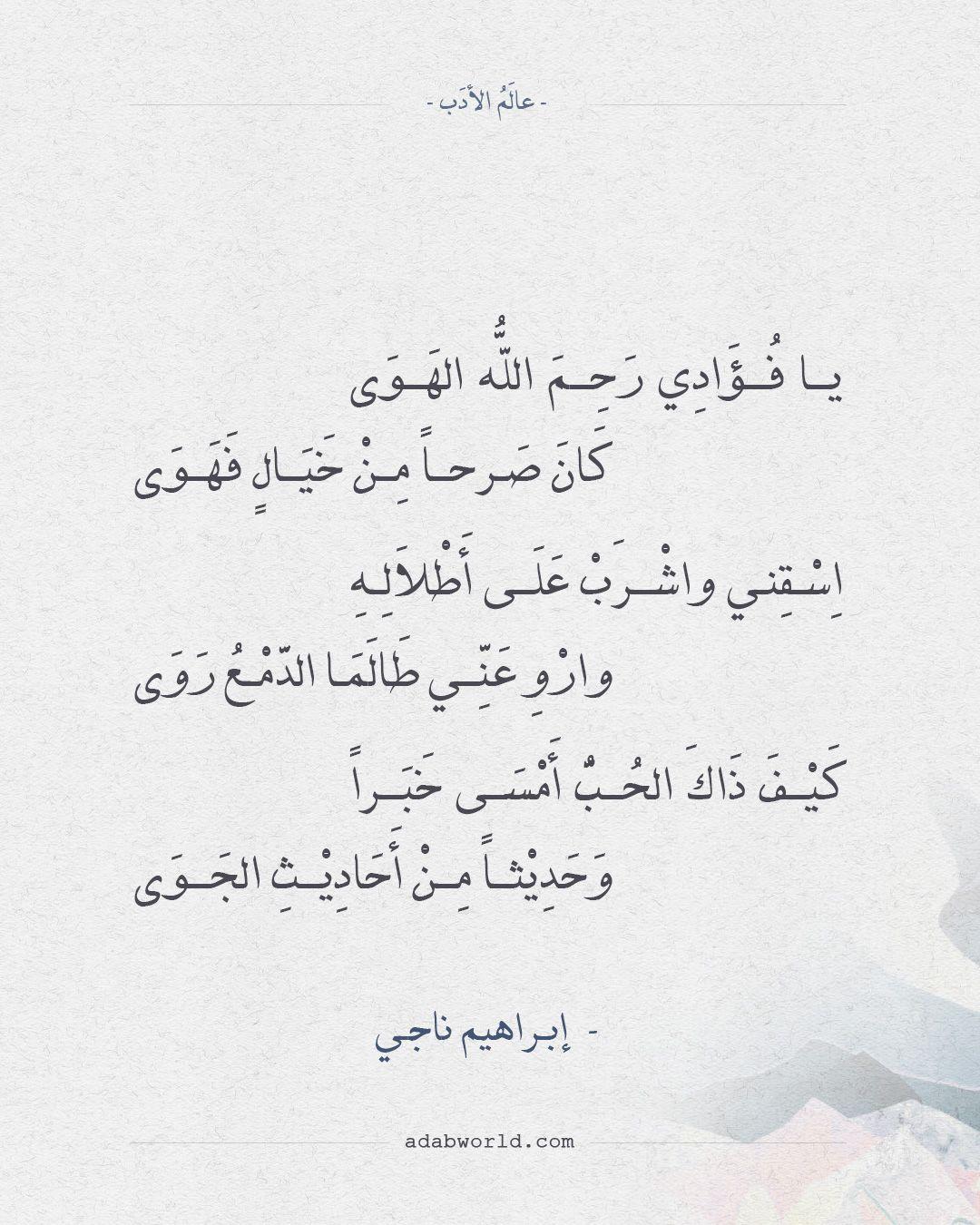 شعر إبراهيم ناجي يا فؤادي رحم الله الهوى عالم الأدب Beautiful Arabic Words Arabic Poetry Cool Words