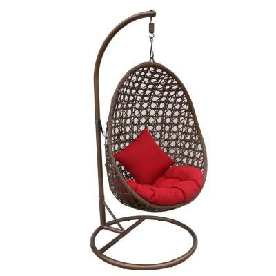 Jlip Brown Rattan Patio Swing Chair With Stand And Red Cushions