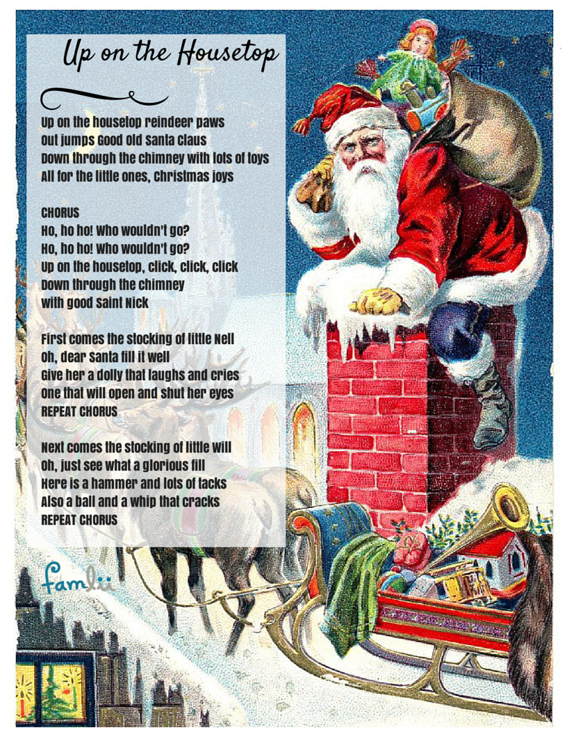 Click, Click Click! Up on the Housetop Lyrics Christmas
