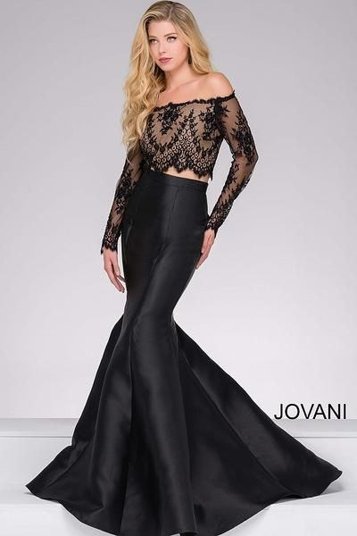 474a55ae306 Jovani 48695 Black off the Shoulder Two piece Mermaid Dress