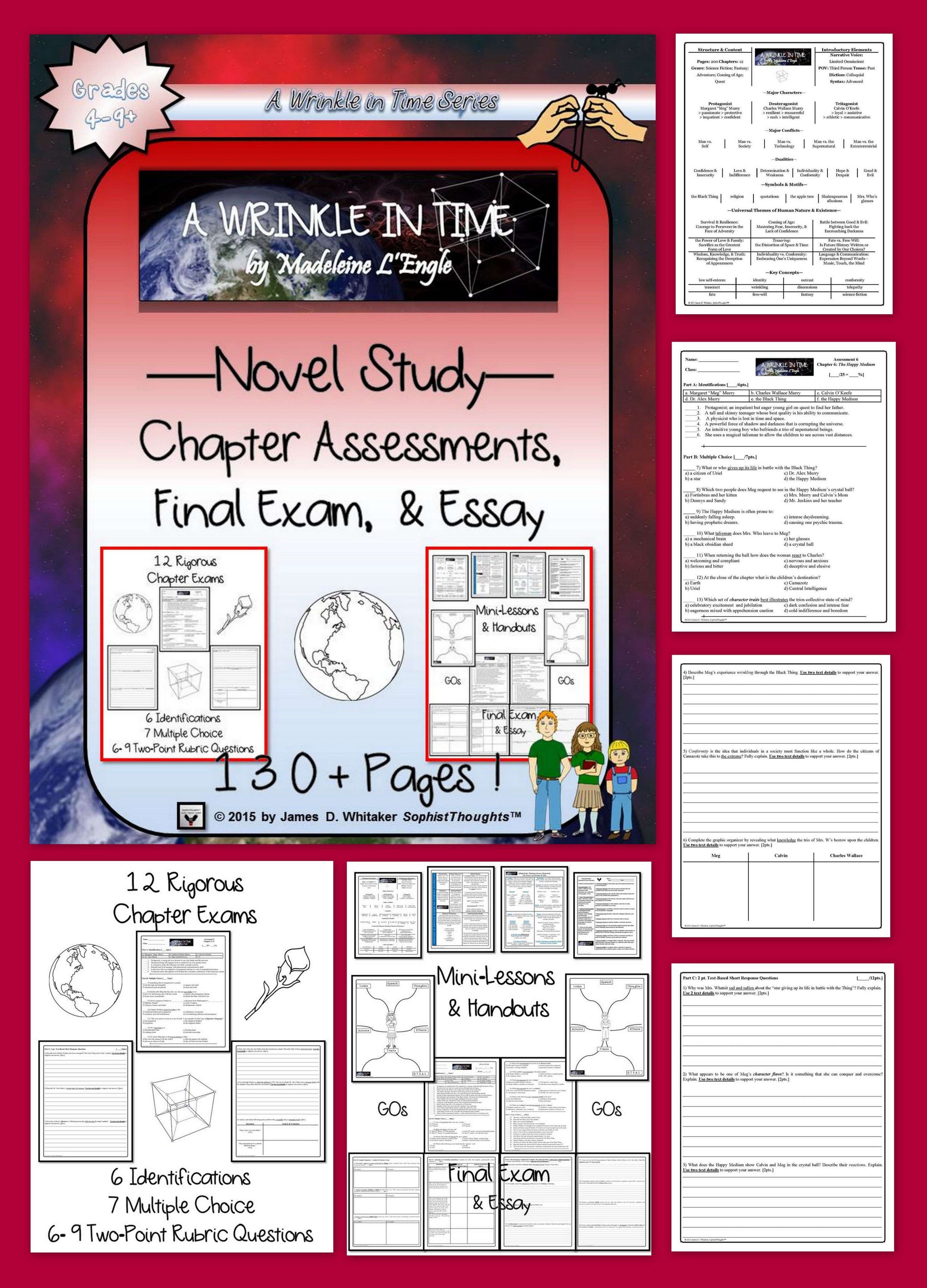 A Wrinkle In Time By Madeleine L Engle Novel Study Chapter Assessments
