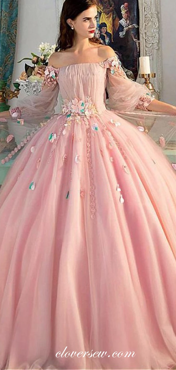 Pink Tulle Off The Shoulder Long Sleeves Applique Ball Gown Prom Dresses, CP0100 #tulleballgown