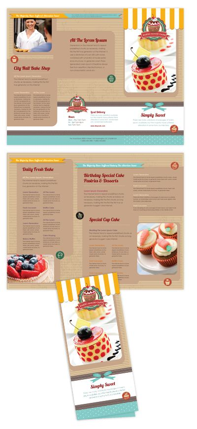 Cake Tri Fold Brochure Template Will Be A Good Choice For Presentations On Bakery