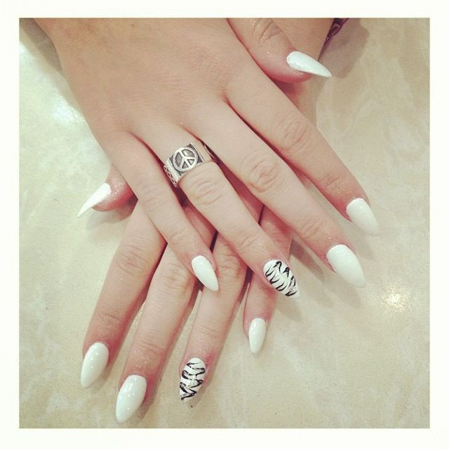 white pointy nails - Google Search | CLAWS | Pinterest | Pointy nails