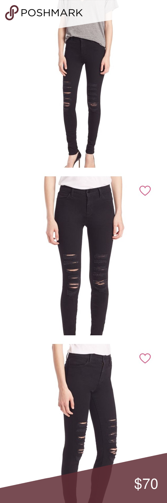 b7af31a651a9 J Brand Maria Black Heart High-Rise Skinny Leg Distressed skinny jean