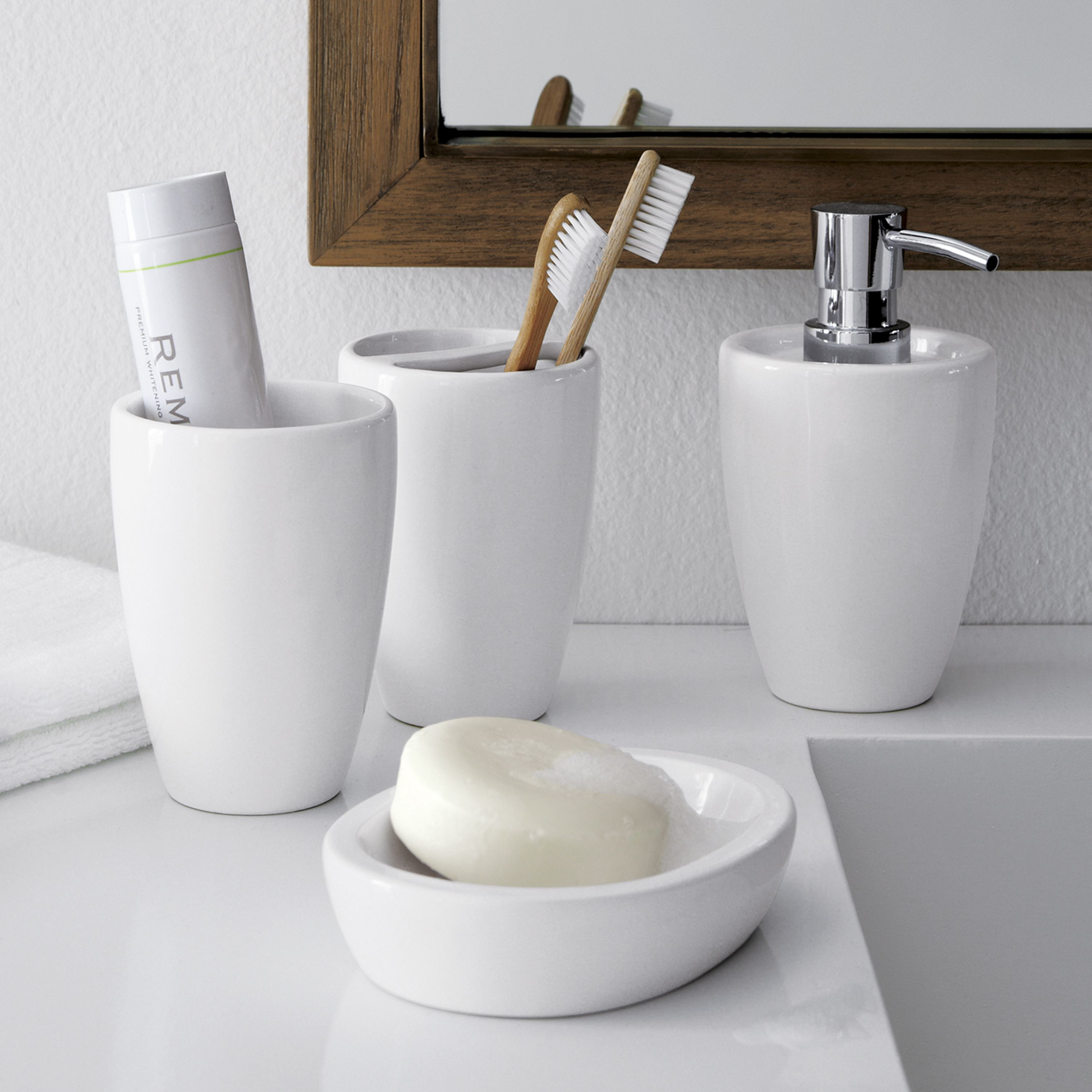 Basic, functional and pure white. Our bathroom accessories offer ...