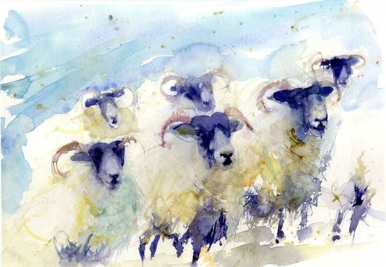 Limited Edition Print Of Watercolour Sheep 1888wall Art Home