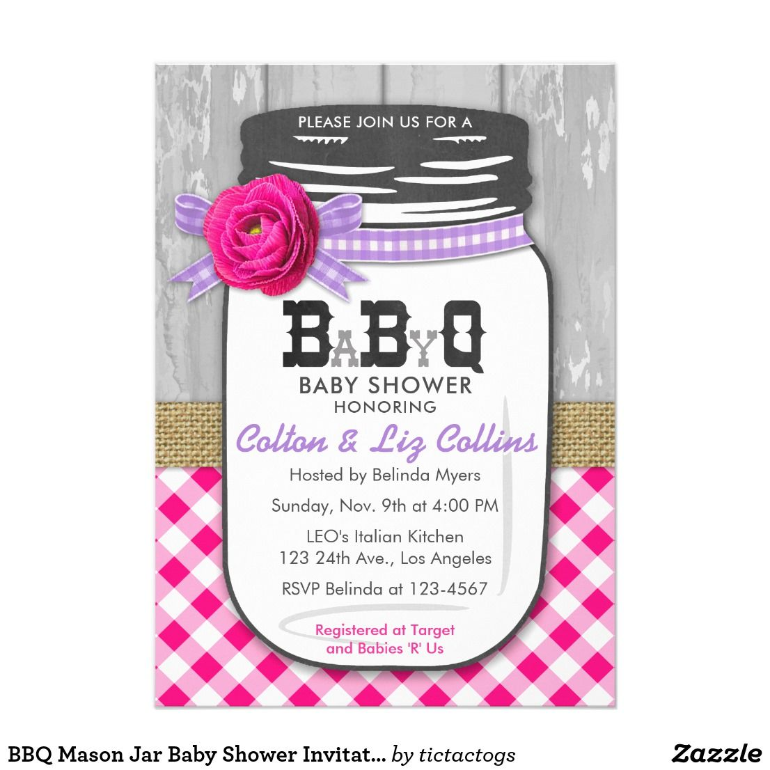 BBQ Mason Jar Baby Shower Invitation Pink & Purple | Shower ...