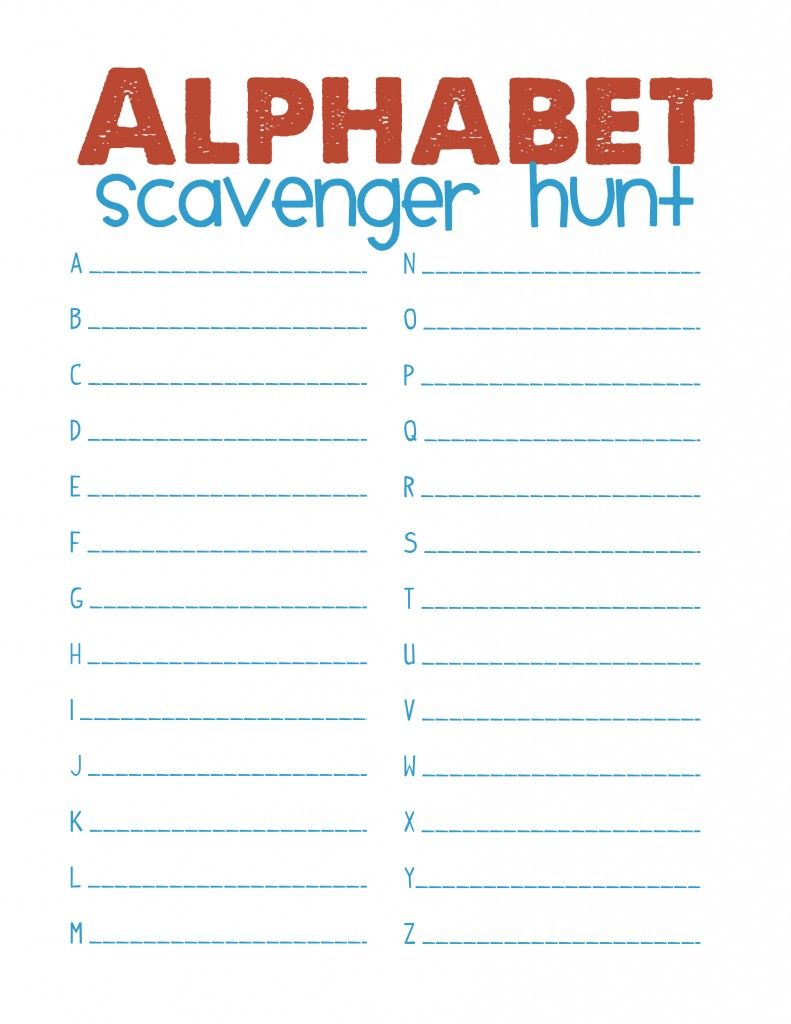 Alphabet scavenger hunt. Find things in the class that