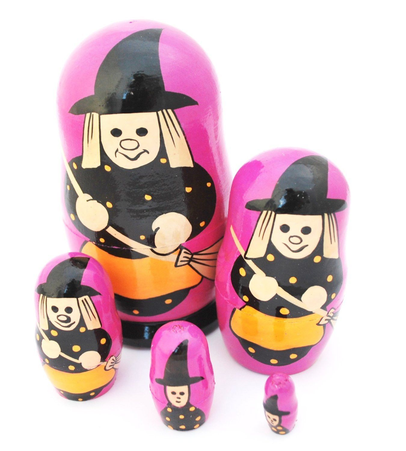 """Unique Authentic Russian Hand Painted Halloween Witch Nesting Dolls Set of 5 Pcs Matryoshkas Signed By the Artist 4"""""""