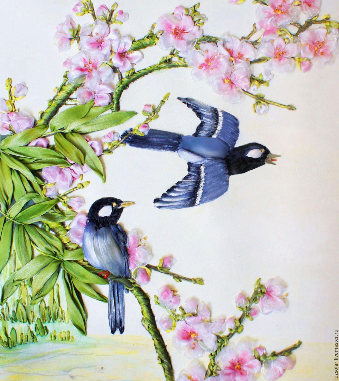 Купить Картина вышитая лентам Цветущая сакура 40 х30 см - Вышивка лентами