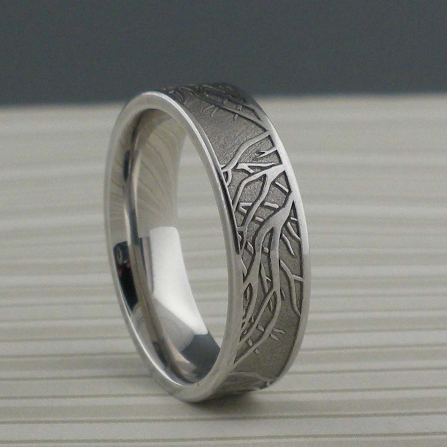 Cobalt Chrome Wedding Ring With Tree Of Life Branches Unique Titanium Wedding Rings Wedding Rings Unique Vintage Engagement Rings Unique Titanium Wedding Rings