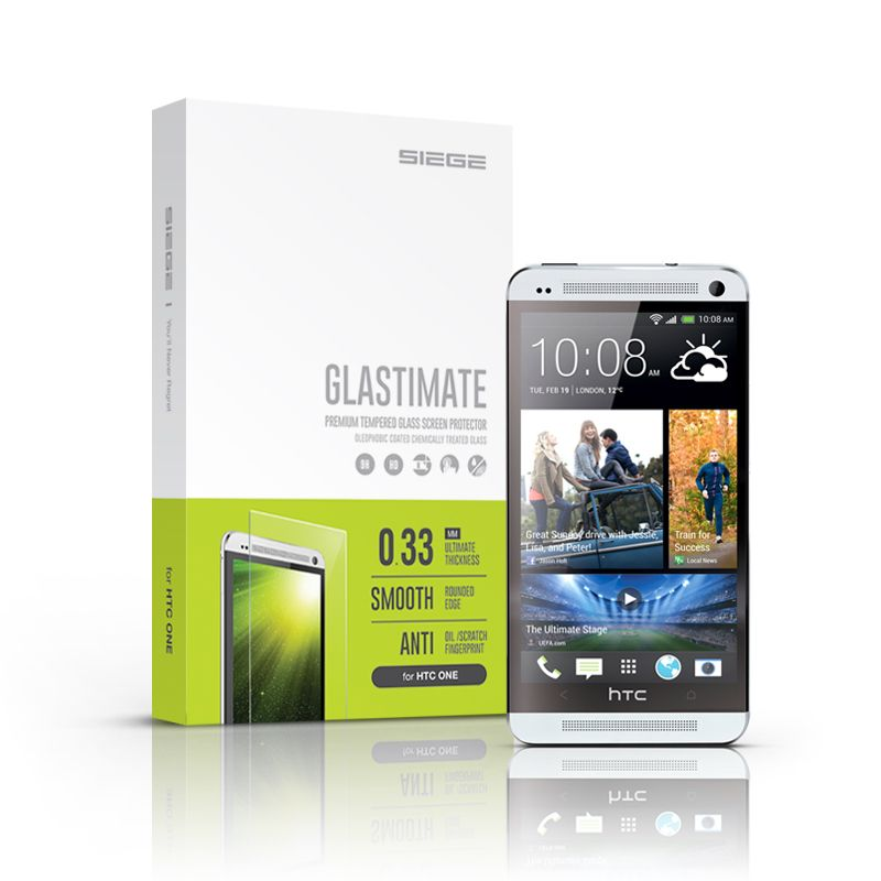 SIEGE - Glastimate Premium Tempered Glass Screen Protector for HTC One