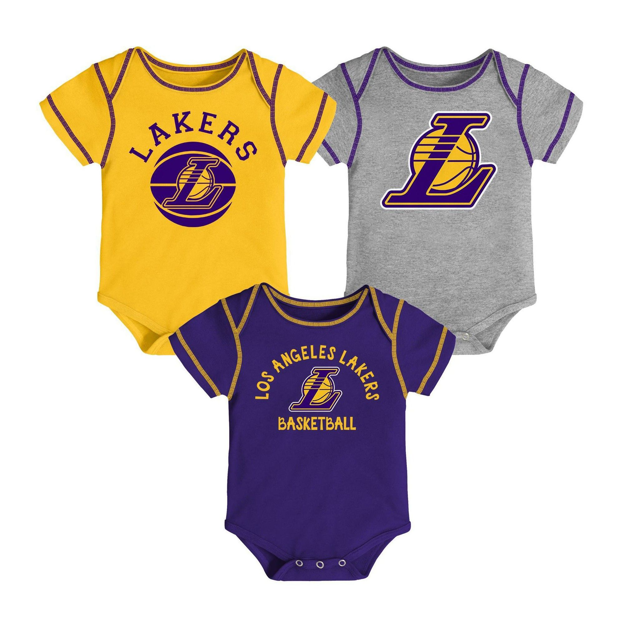 Nba Los Angeles Lakers Baby Boys Rookie Bodysuit Set 3pk 12m In 2020 Dad To Be Shirts Baby Boy Basketball Mothers Day Shirts